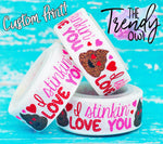 "7/8"" ""I Stinkin' Love You"" Poop Emoji Print on White - Valentine's Day Inspired - 5yd Roll"