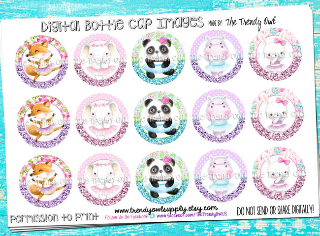 "Ballet/Dance Tutu Animals - 1"" Bottle Cap Images - INSTANT DOWNLOAD"