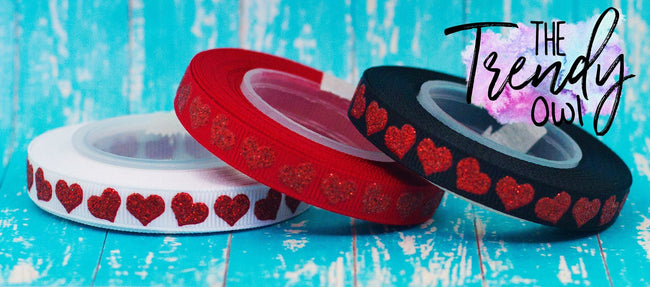 "3/8"" Red Raised Glitter Hearts - 5yd Roll"