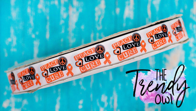 "7/8"" Glittered Peace, Love, Cure/Orange Ribbon - Cancer Awareness - 3yd Cuts"