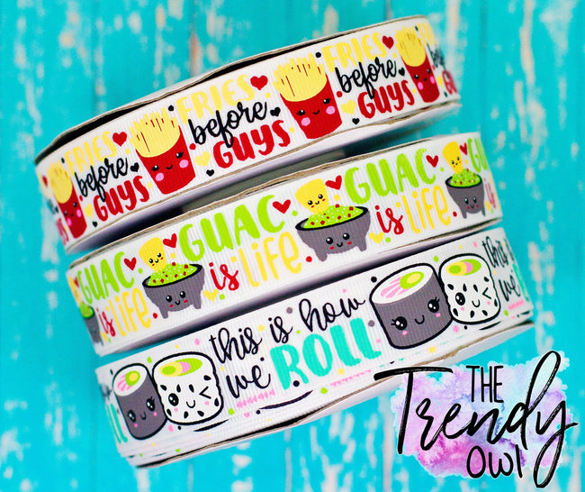 "7/8"" Foodies!! Fries, Guac, Sushi! Food Inspired Collection - 3yd Cuts"