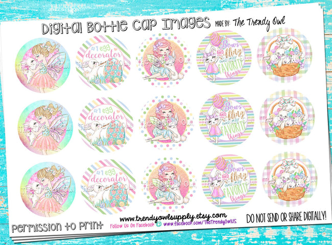 "Easter/Spring Inspired Fairies!! - 1"" Bottle Cap Images - INSTANT DOWNLOAD"