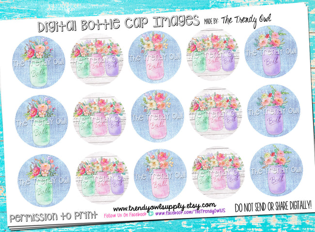 "Mason Jar Floral - 1"" BOTTLE CAP IMAGES - INSTANT DOWNLOAD"