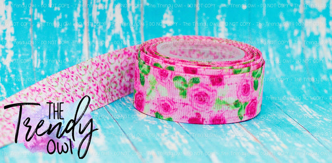 "7/8"" Pink Floral Script DOUBLE SIDED Heat Transfer Print - 5yd Roll"