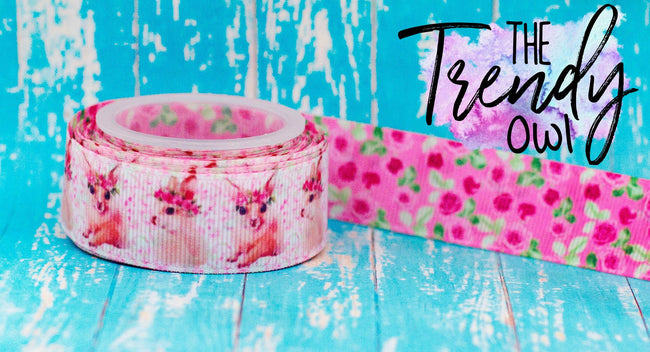 "7/8"" Pink Floral Bunnies DOUBLE SIDED Heat Transfer Print - 5yd Roll"