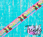 "7/8"" OUCH! Chocolate Bunnies on Pastel Rainbow Stripes - Easter Inspired - 5yd Roll"