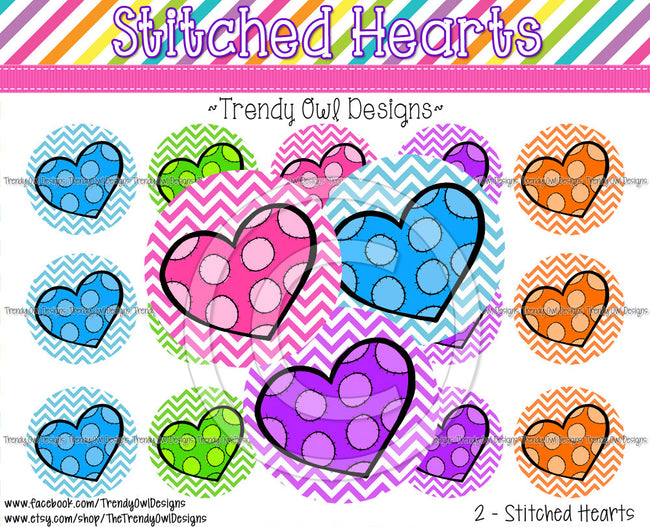 "Stitched Hearts - 1"" BOTTLE CAP IMAGES - INSTANT DOWNLOAD"