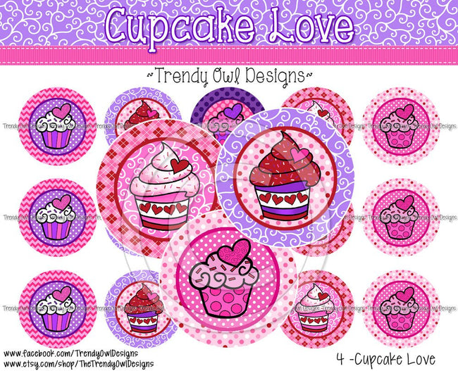 "Cupcake Love Valentine's - 1"" Bottle Cap Images - INSTANT DOWNLOAD"