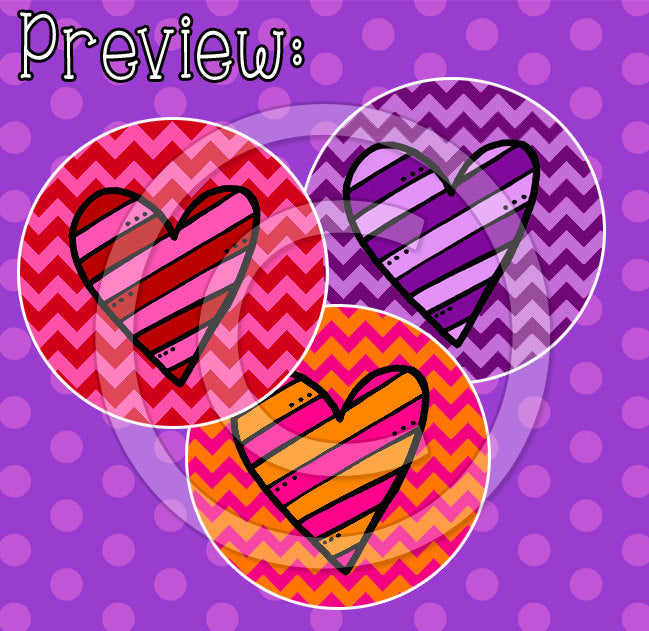 "Striped Hearts - 1"" BOTTLE CAP IMAGES - INSTANT DOWNLOAD"