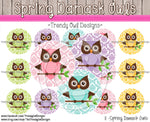 "Spring Damask Owls - 1"" BOTTLE CAP IMAGES - INSTANT DOWNLOAD"