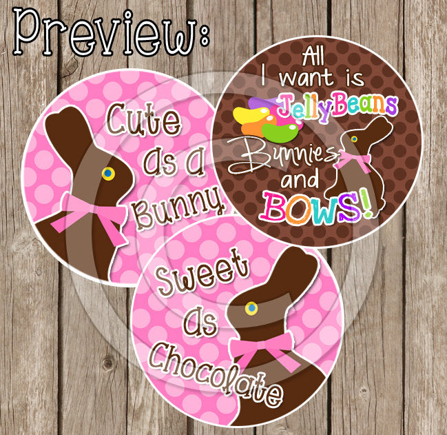 "Chocolate Bunny - Easter Inspired - 1"" Bottle Cap Images - INSTANT DOWNLOAD"