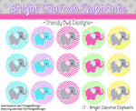 "Bright Chevron Elephants - 1"" Bottle Cap Images - INSTANT DOWNLOAD"