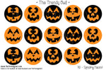 "Spooky Faces -  Halloween Themed - 1"" BOTTLE CAP IMAGES - INSTANT DOWNLOAD"