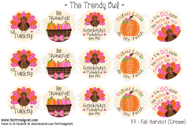 "Fall Harvest (Cream) - Thanksgiving - 1"" Bottle Cap Images - INSTANT DOWNLOAD"