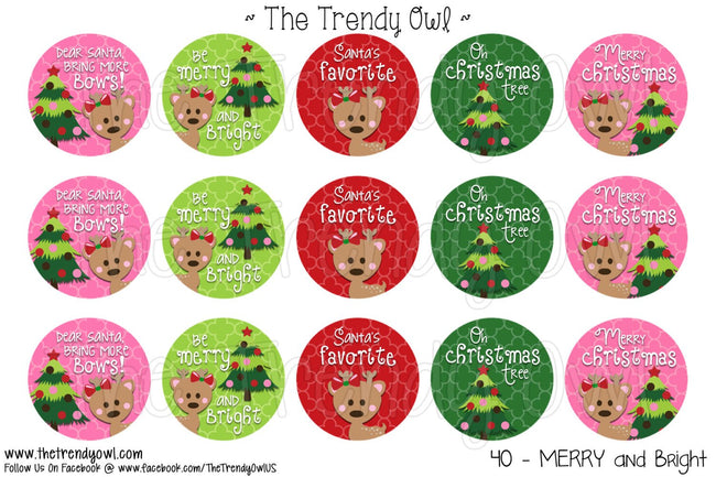 "MERRY and Bright  - Christmas Inspired - 1"" BOTTLE CAP IMAGES - INSTANT DOWNLOAD"