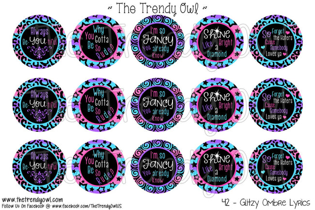 "Glitzy Ombre Lyrics - 1"" Bottle Cap Images - INSTANT DOWNLOAD"