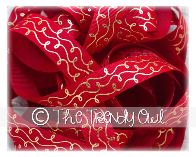 "7/8"" Gold Foil Doodle Swirls - Red - 5yd Roll"