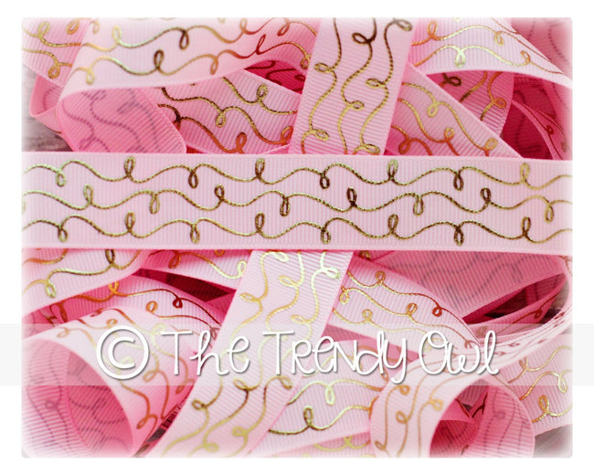 "7/8"" Gold Foil Doodle Swirls - Pearl Pink - 5yd Roll"