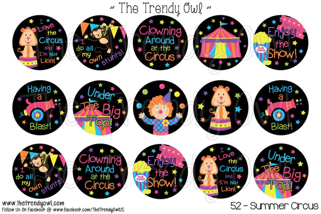 "Summer Circus - 1"" BOTTLE CAP IMAGES - INSTANT DOWNLOAD"