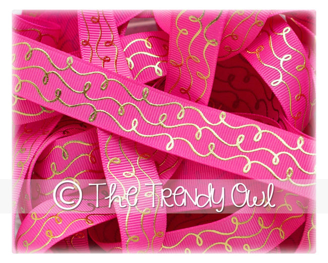 "7/8"" Gold Foil Doodle Swirls - Hot Pink - 5yd Roll"