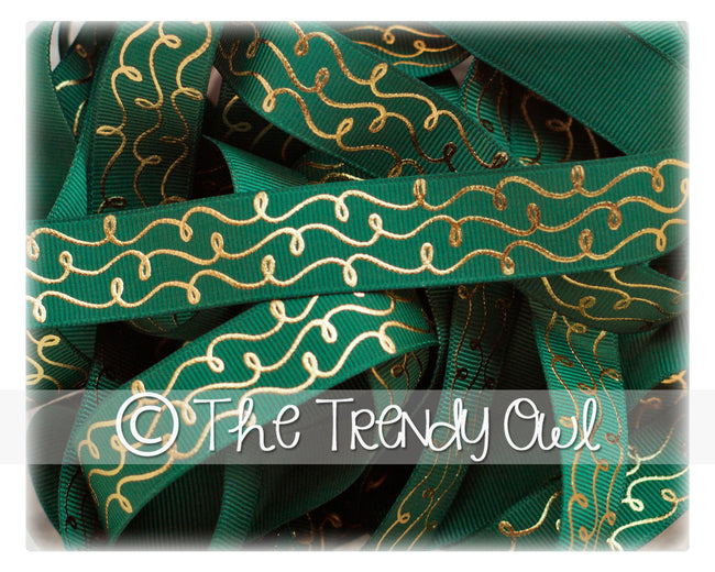 "7/8"" Gold Foil Doodle Swirls - Forest Green - 5yd Roll"