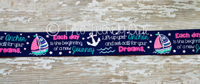 "7/8"" Set Sail For Your Dreams, 3/8"" & 7/8"" Silver Foil Anchors - 5yd Roll"
