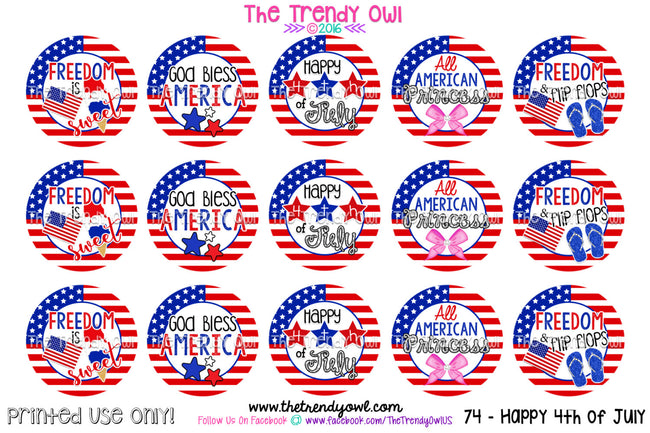 "God Bless America - 4th of July - 1"" BOTTLE CAP IMAGES - INSTANT DOWNLOAD"