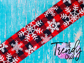 "1.5"" & 3"" White Glittered Snowflakes on Red Buffalo Plaid - 5yd Roll"