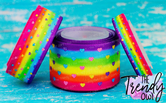 "3/8"", 7/8"", 1.5"" & 3"" Mini Glittered Hearts on Rainbow Stripes - 5yd Roll"