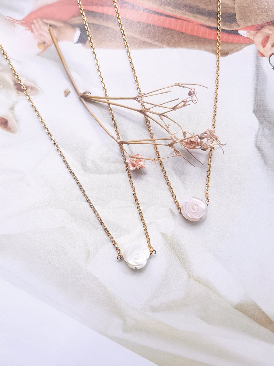 Collier Rose nacre rose
