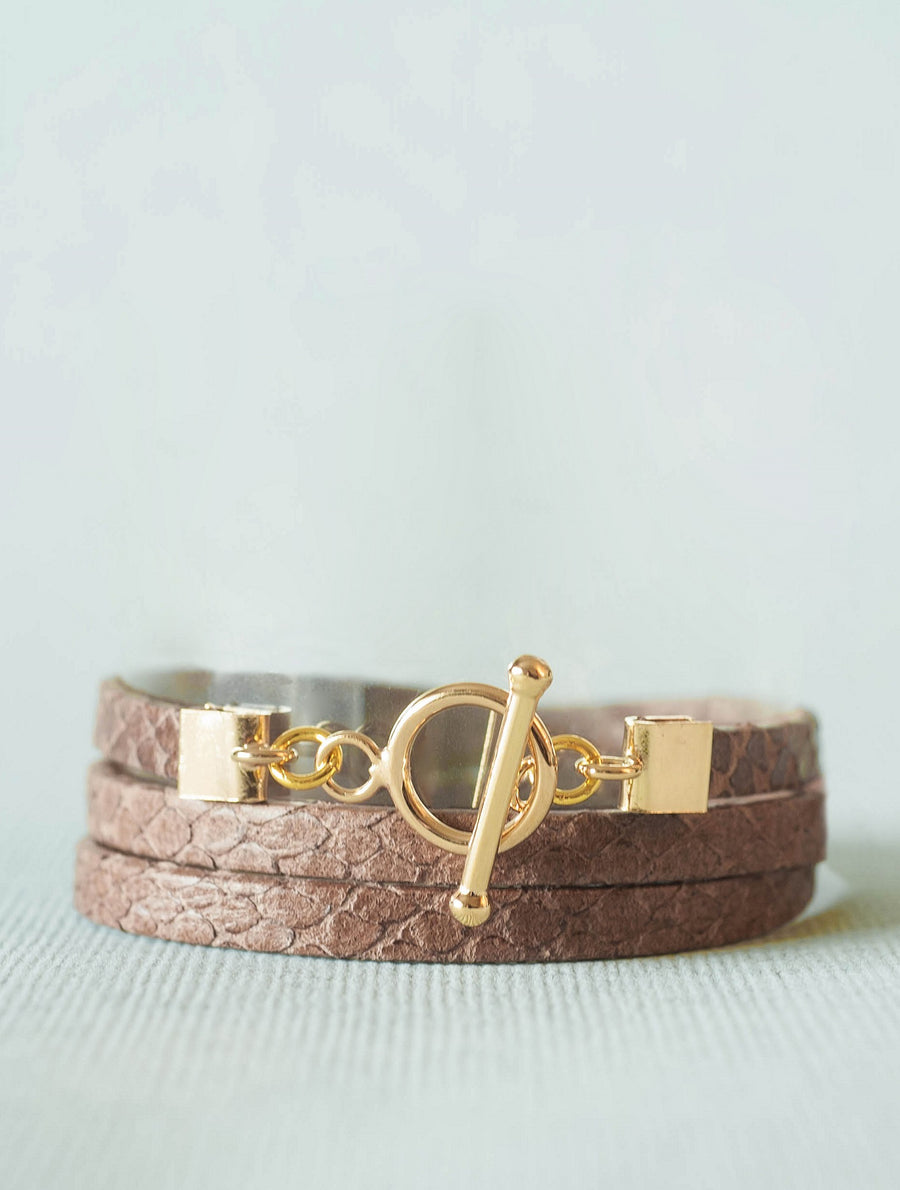 Bijoux Ô plum,  bracelet cuir Jane Gold, fermoir plaqué or