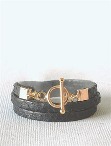 Bijoux Ô plum, bracelet cuir Jane Black, fermoir plaqué or