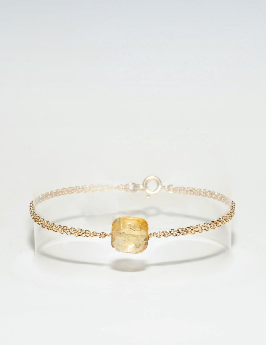 Bracelet Double Citrine, Collection Citrine en Plaqué Or Bijoux Ô plum