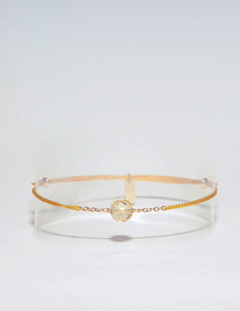 Bracelet cordon citrine, Collection Citrine en Plaqué or, Ô plum
