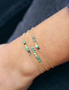 Bracelet triple turquoise plaqué or Collection Blue Lagoon Ô plum