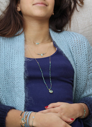 Collier Goutte Collection Blue Lagoon Plaqué Or Ô plum