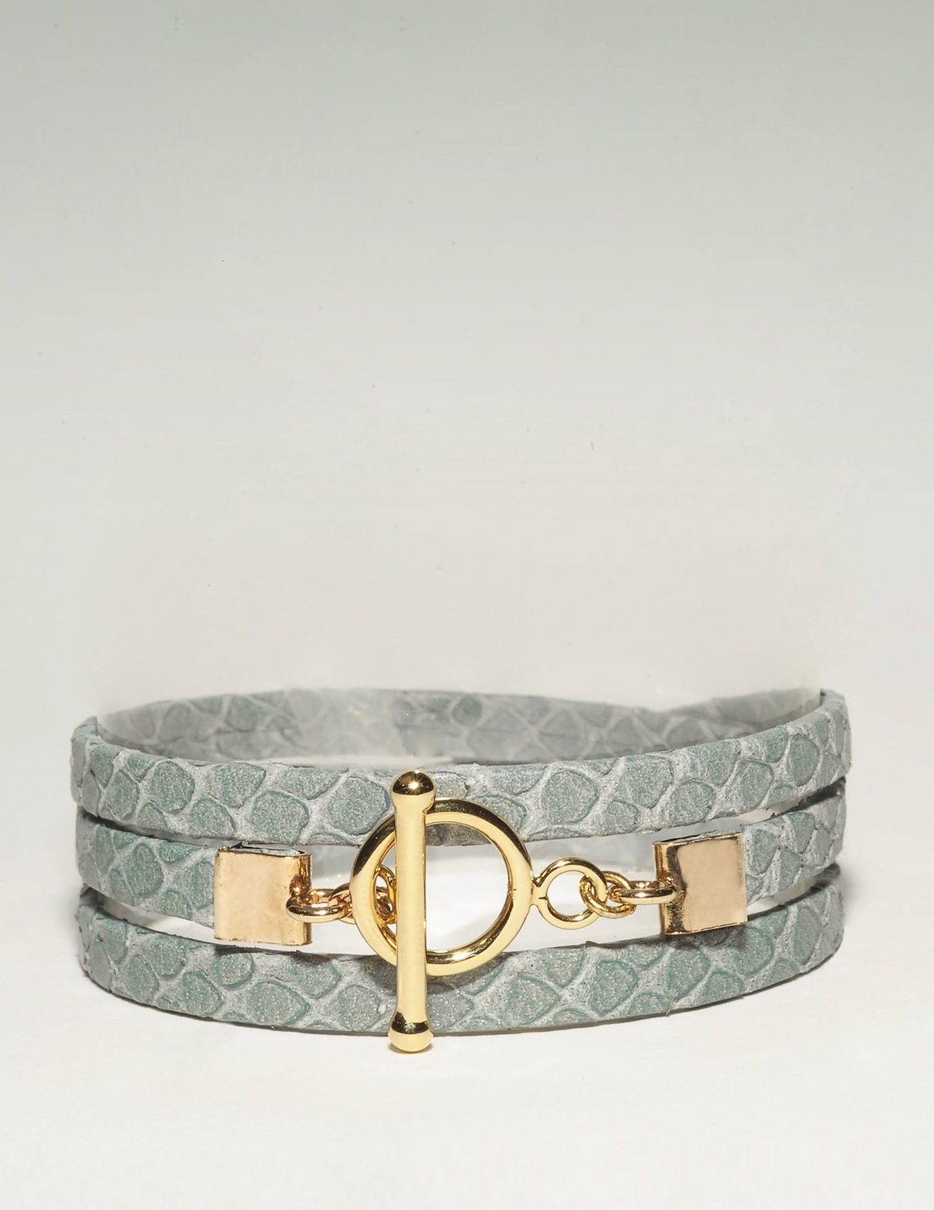 Bracelet Cuir Jane vert gris Collection Blue Lagoon Ô plum