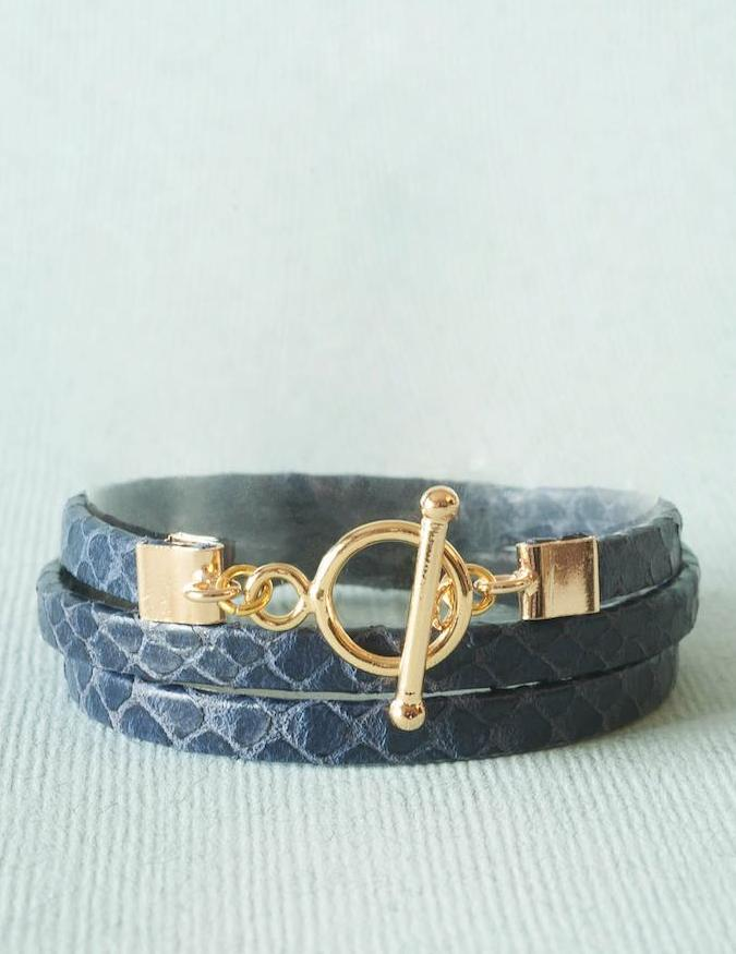 Bracelet Cuir Jane, bleu marine Collection Bella Donna Ô plum
