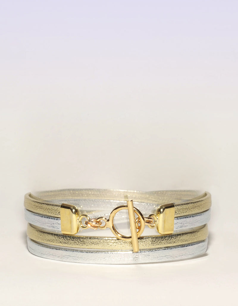 Bracelet Cuir Adèle Or Argent Collection Beacon Hill Ô plum