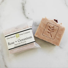 Load image into Gallery viewer, Olive Branch Natural Soap Company - Rose + geranium artisan soap bar
