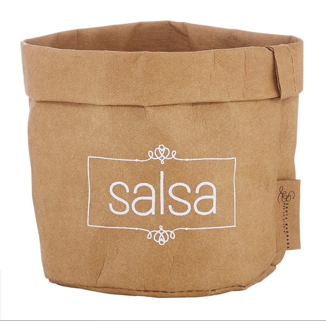 Washable paper salsa holder and ceramic dish set