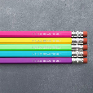 Foil Stamped Pencil Set - Hello Beautiful