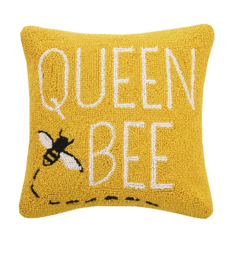 Queen Bee Hooked Wool Pillow