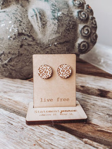 Statement Peace Cheetah Studs