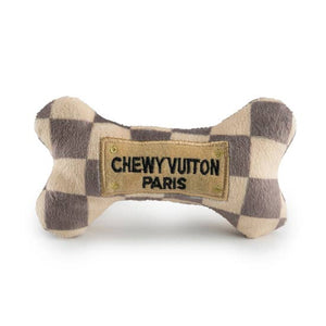 Plush Dog Toy - Chewy Vuiton checker bone, small