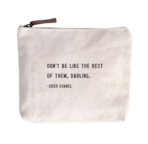 Canvas Zippered Pouch - Coco Chanel