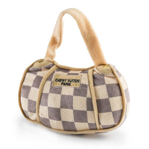Plush dog toy - Chewy Vuiton checkered handbag