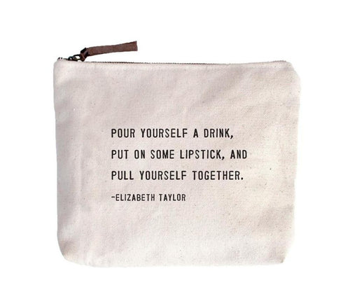 Canvas Zippered Pouch - Elizabeth Taylor