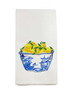 Cotton Tea Towel - Blue Bowl with Lemons