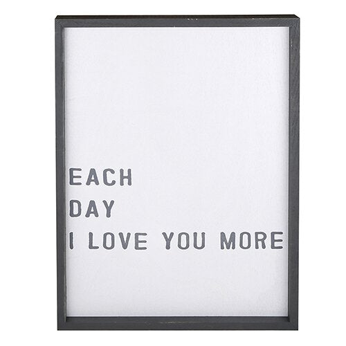 Framed Word Board - Each day I love you more